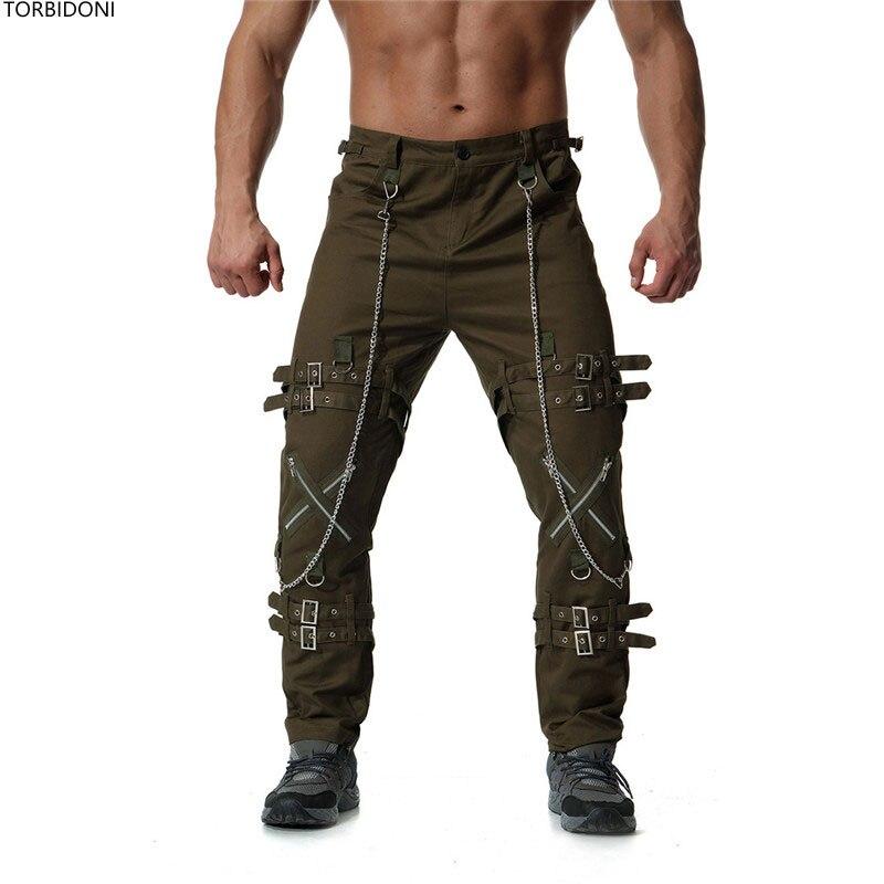 Disegno Casual Hop Pantalon Pantaloni Tendenza Hombre Moda Di Streetwear  Uomini green khaki Chiusura Della dark Dritti Cargo Hip ... 5d837da3978b