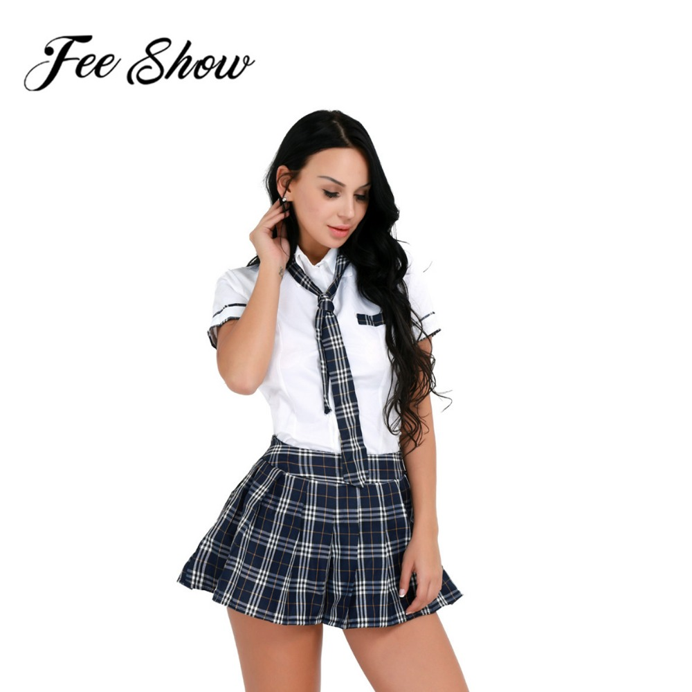 Adult Women Girls Halloween Party Cosplay Costume School Uniform Short Sleeve Turn-down Collar Shirt with Plaid Skirt & Tie Set