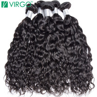 V Only Virgo Hair Malaysian Water Wave Human Hair Weave Bundles 100 Remy Hair Wet And