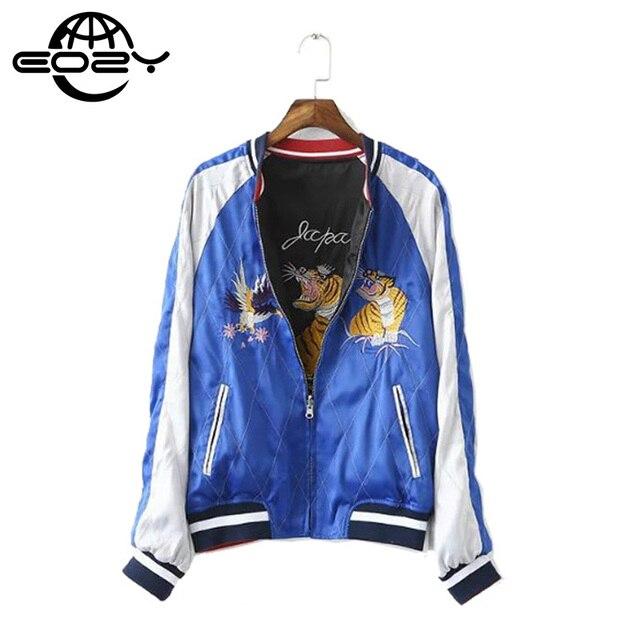 Águia Tigre Bordado Zíper Casacos Reversíveis Jaqueta Azul E Preto Para As Mulheres E Homens Gola Básico Jackets S-XL