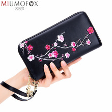 Fashion Women Wallet Genuine Leather Luxury Long Clutch Colored Drawing Plum Blossom Rfid Card Wristlet Purse Ladies Money Clips