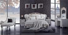 MYBESTFURN Luxury Solid Wood Carving Prince Bed, Top Grain Genuine Leather Gorgeous Bedroom Furniture D511