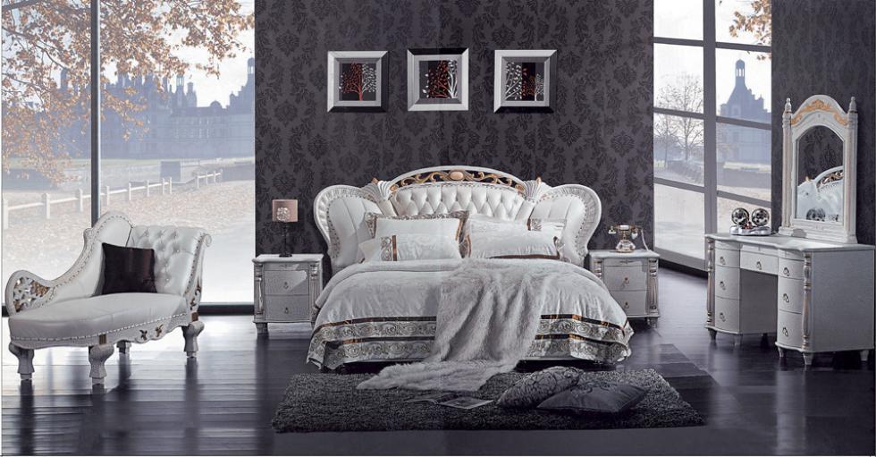 Mybestfurn Luxury Solid Wood Carving Prince Bed Top Grain Genuine Leather Gorgeous Bedroom Furniture D511