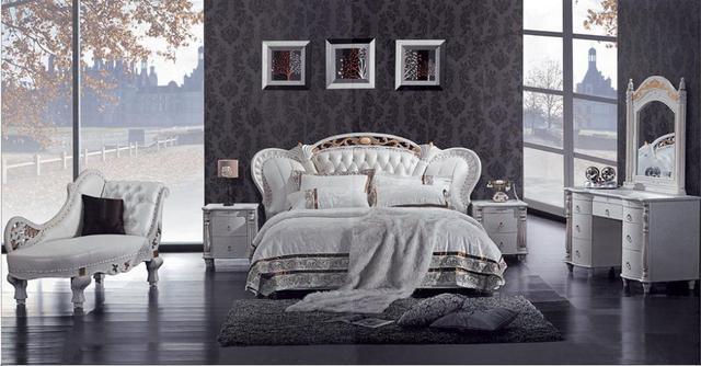 Mybestfurn Luxus Massivholz Carving Prinz Bett Spitzenkorn Echtem