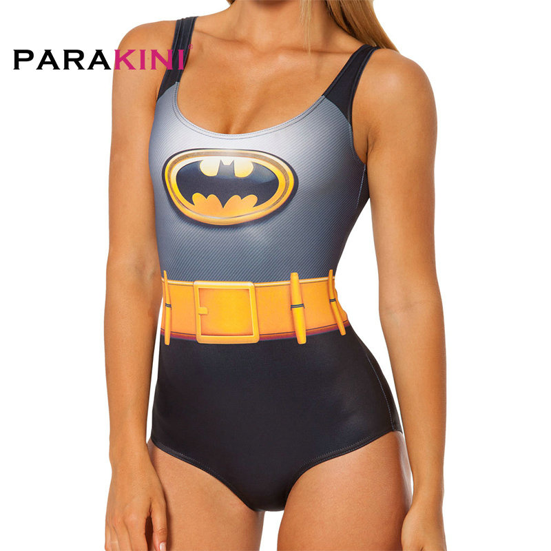 52e298fb684641 PARAKINI New 2018 Digital Print Swimsuit Beachwear One Piece Swimwear Women  Bathing Suits Batman Tiger Skeleton