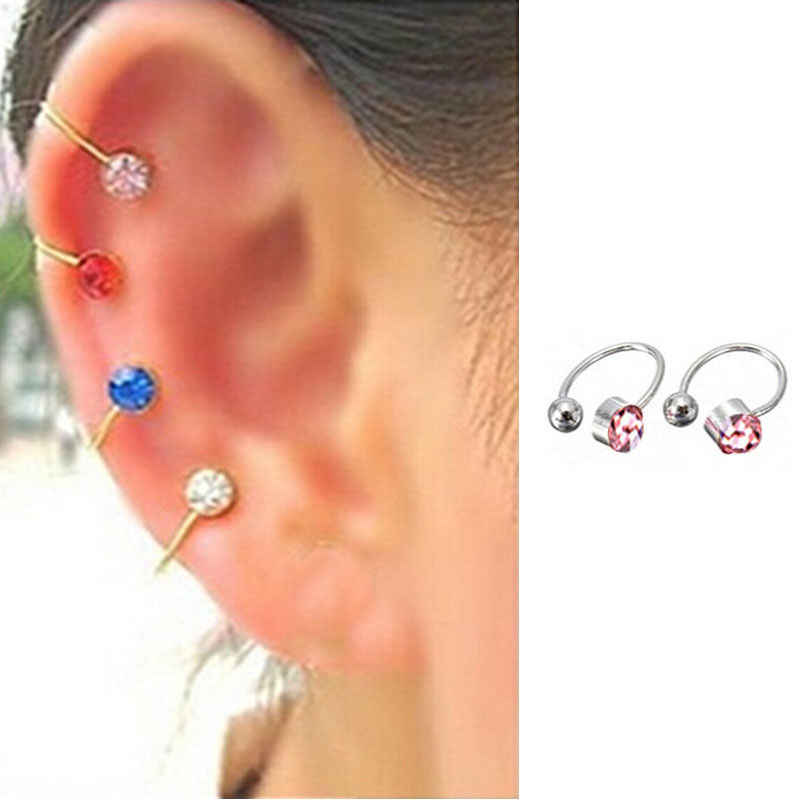 5 Colors Clip On Earrings For Women 4mm Crystal Ear Cuff Jewelry Fake Piercing Ear Clips Oringe Girl Gift