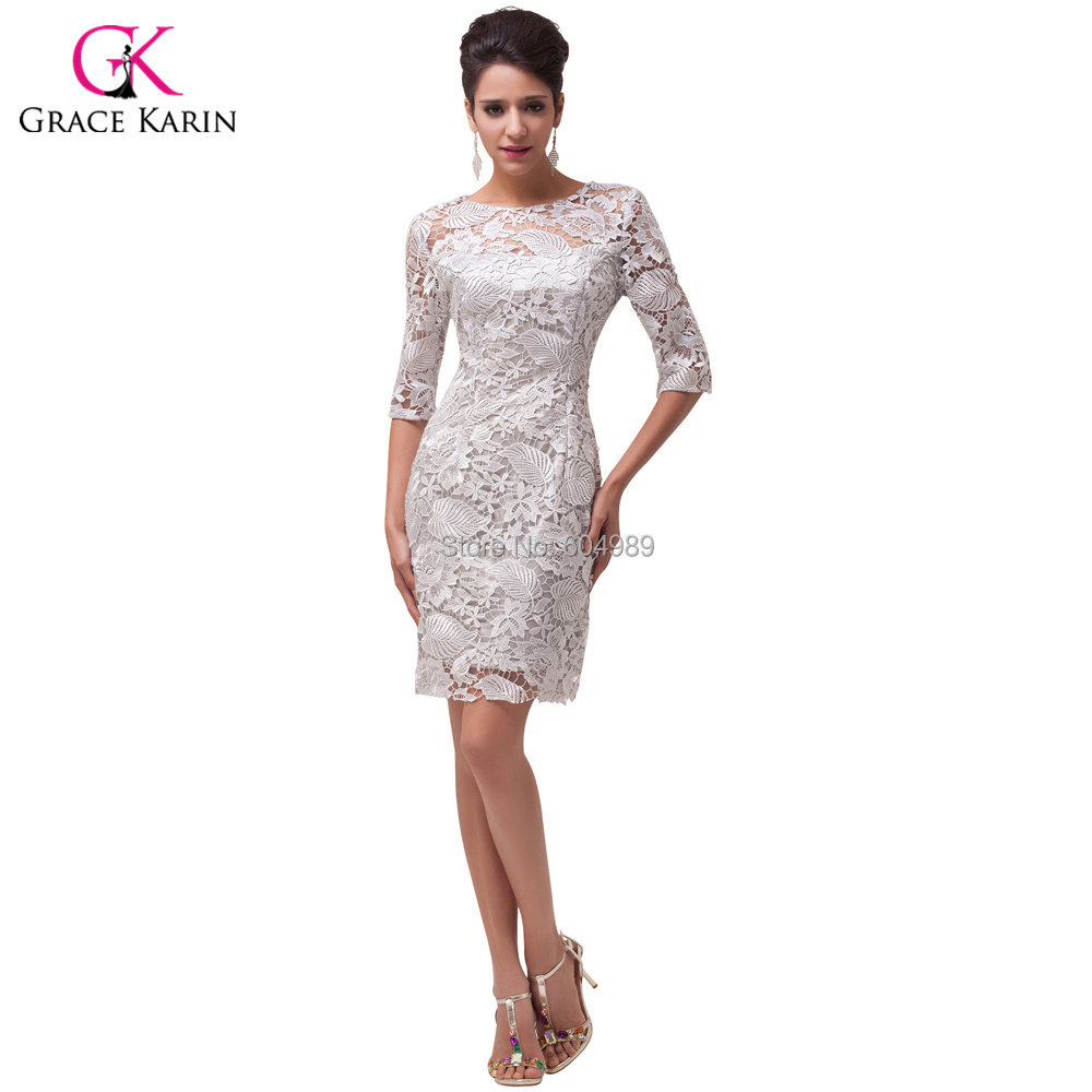 Fast Delivery Grace Karin Light Grey Lace Short Mother Of The Bride Dresses Half Sleeve Elegant H6032 In From Weddings