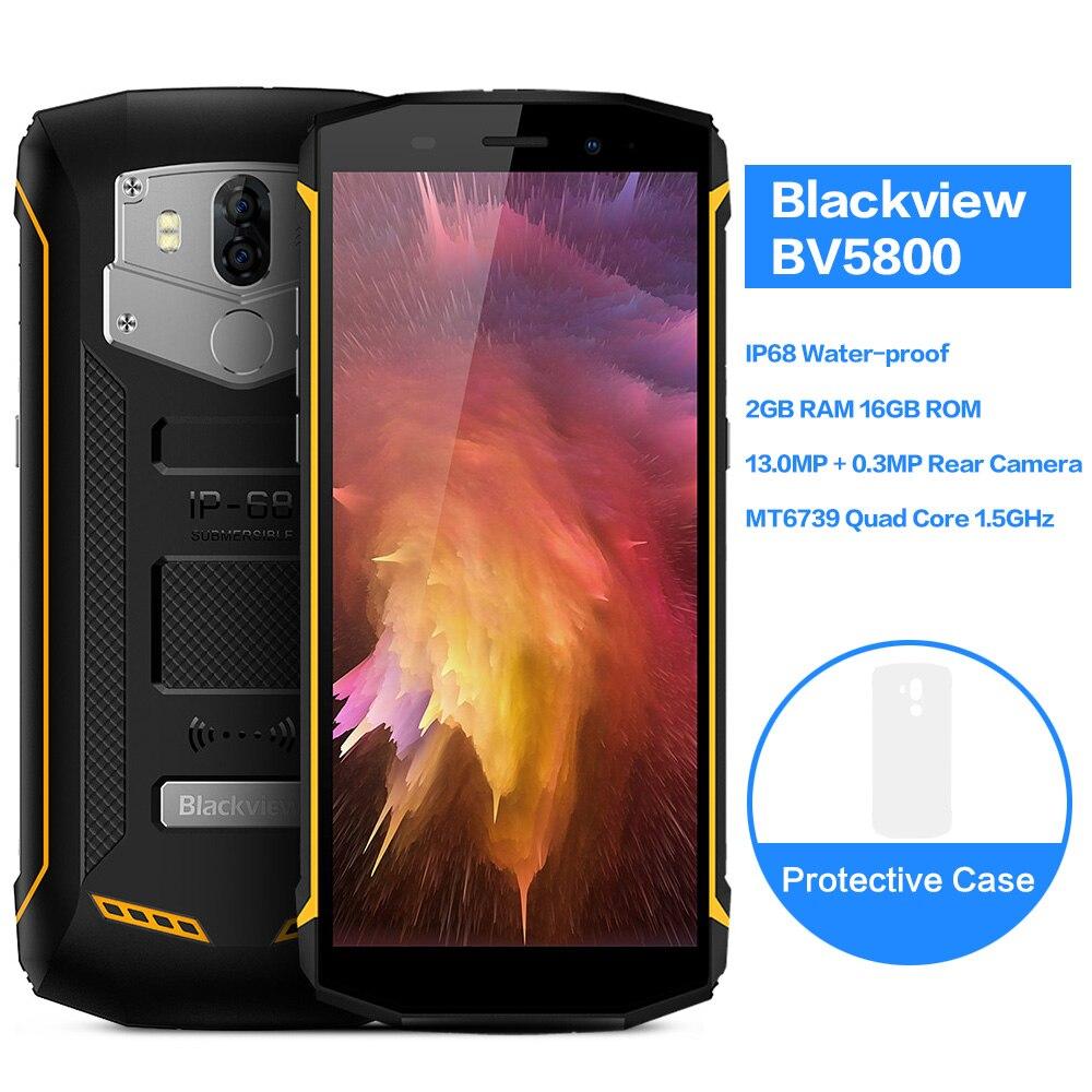 Blackview BV5800 Smartphone 5.5 IP68 HD + Plein Écran MT6739 Quad Core 5580 mAh Batterie 5 V/2A charge rapide 2 GB + 16 GB NFC 4G Téléphone