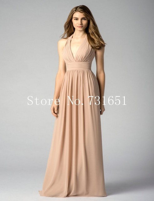 Us 95 0 Graceful 2015 Fall Cheap Wedding Guest Dresses Nude Chiffon Halter Neck Backless Ruching Maid Of Honor Dress In Bridesmaid Dresses From