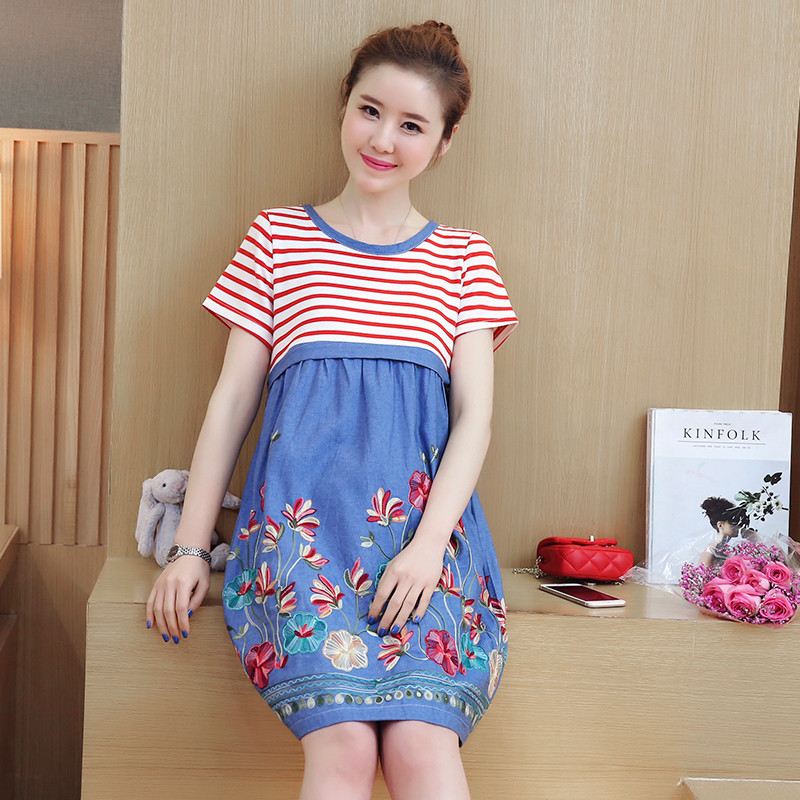Maternity Dress Cotton Striped Nursing Dress for Pregnancy Woman Short Summer Maternity Dresses Clothing Vestidos Verano