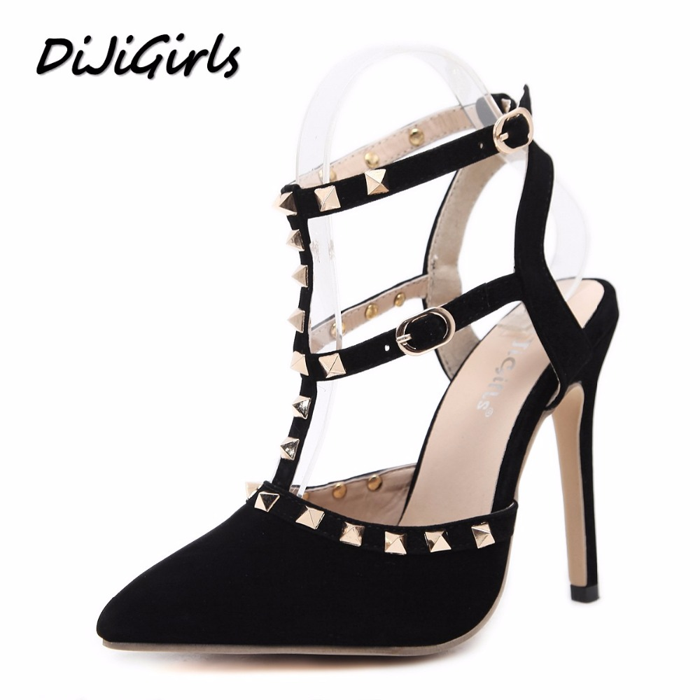 DiJiGirls New Women Pumps Fashion Sexy Rivets Pointed toe Wedding Party High Heels Sandals Shoes Woman Stilettos Gladiator Shoe new spring summer women pumps fashion pointed toe high heels shoes woman party wedding ladies shoes leopard pu leather