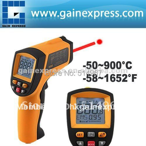 Digital Infrared IR Non-Contact Laser Thermometer 12:1 DS Pyrometer 0.10~0.99 EM -50~900 degree C / -58~1652 degree F Range benetech lcd digital infrared thermometer pyrometer laser point temperature gm300 meter free shipping