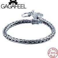 Wholesale Genuine 100 Real Pure 925 Sterling Silver Men Bracelet Dragon Bone Men Jewelry Free Shipping