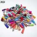 JINSE Velvet Faux Suede Tassel With Silver Cap For Fringe Keychain Straps Jewelry Diy Making Leather Pendant Purl Macrame