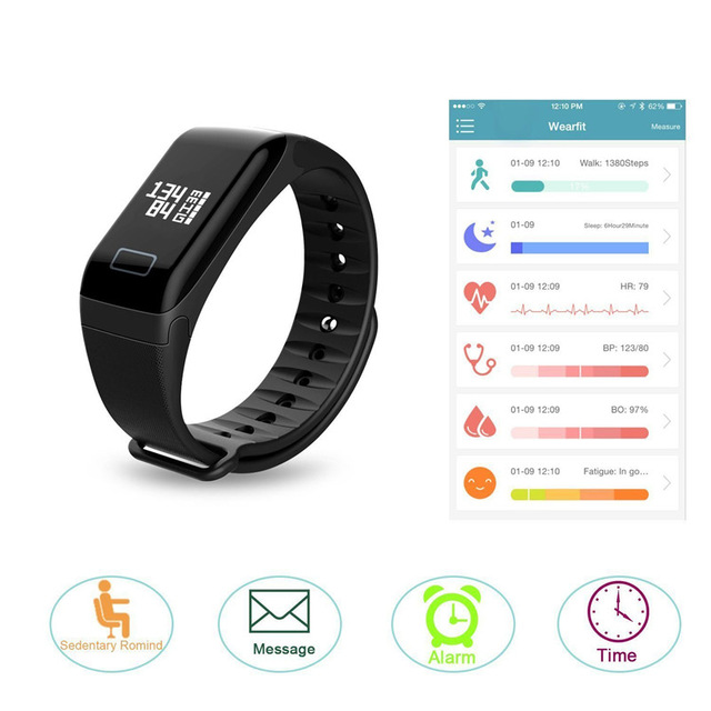 Smart Watch F1 Blood Oxygen Blood Pressure Band Fitness Sport Bracelet Heart Rate Monitor Call/SMS Reminder pk fitbits miband2