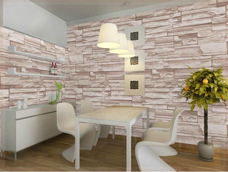Gaya Cina Ruang Makan Desain 3d Wallpaper Batu Bata Latar Belakang