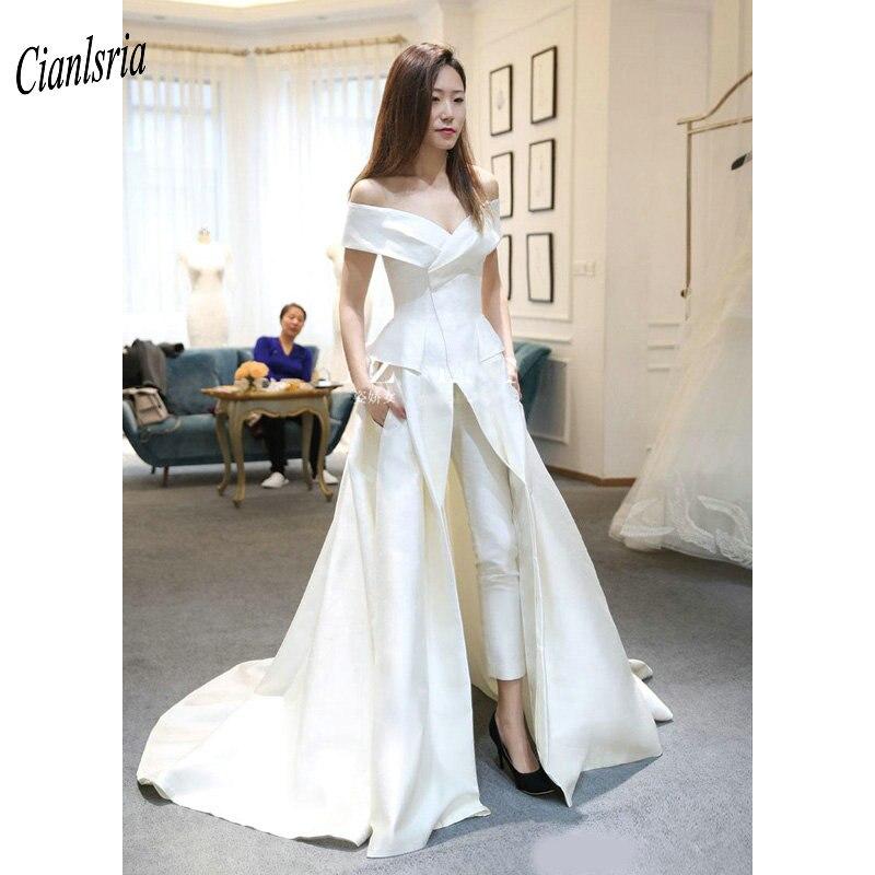 Deux pièces combinaisons pays robes De mariée épaule dénudée Peplum Satin jupe haute fendue robe De mariée Vestido De Novia