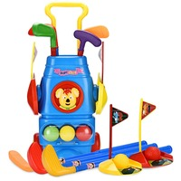 Champkey Kids Golf Club Set Golf CartWith Wheels, 7 Colorful Golf Sticks, 5 Balls & 2 Practice Holes