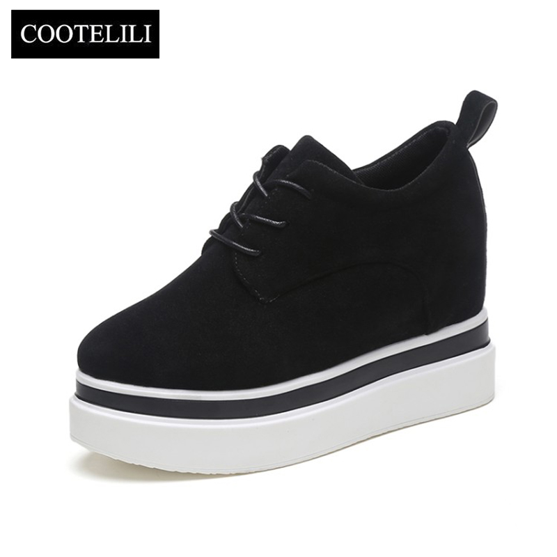 COOTELILI 35-39 Spring Casual Solid Flat Women Shoes Round Toe Loafers Lace-Up Platfroms Soft Leather Ladies Shoes For Ladies mcckle 2017 fashion woman shoes flat women platform round toe lace up ladies office black casual comfortable spring