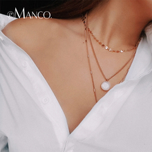 e-Manco Three Layers Choker Necklaces For Women Crystal Char