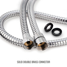 1.5-2 m water intake hose cold and hot spray bellows water heater copper cap stainless steel electroplated double-button hose