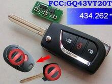 RMLKS Floding Flip 3BTN дистанционный ключ брелок 433 МГц с чипом 4D67 72G H подходит для Toyota Sienna Van FCC ID : GQ43VT20T TOY43 Blade