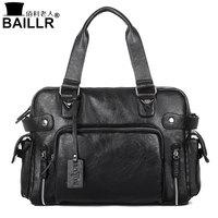 BAILLR Handbag Luxury PU Leather Man Bags Vintage Business Large Handle Bag Fashion For Men Shoulder