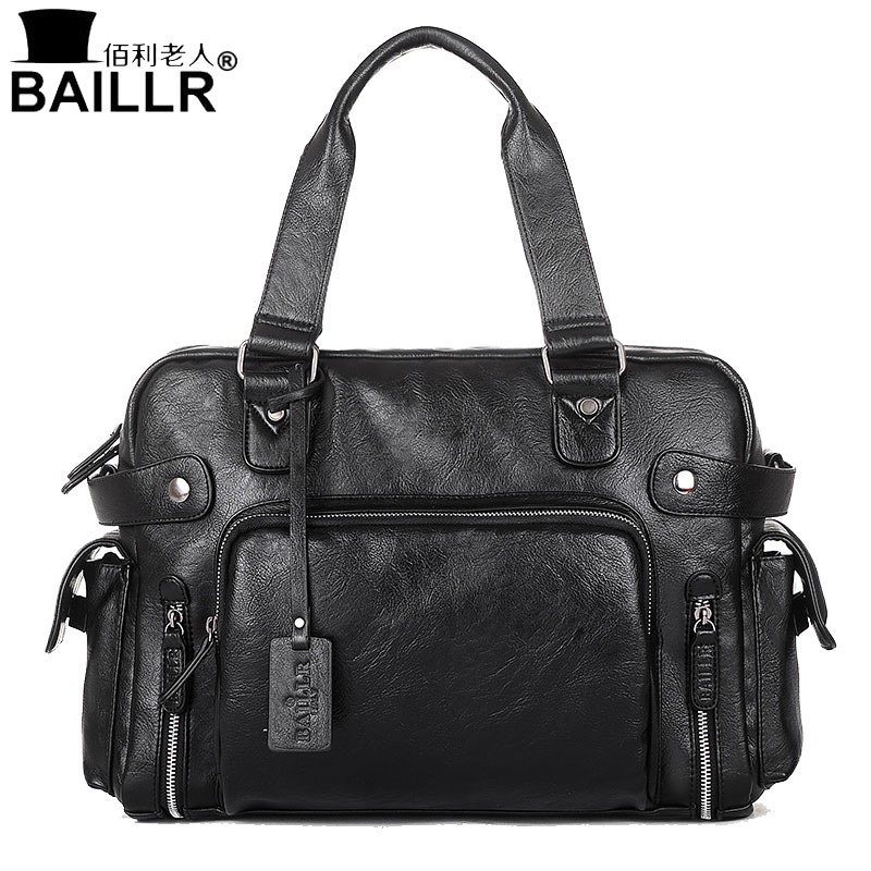 BAILLR Handbag Luxury PU Leather Man Bags Vintage Business Large handle Bag Fashion For Men Shoulder Men's Casual Big Tote Bags bonjomarisa new arrivals 2016 solid plain round toe lace up sporting thick platform pumps women fashion cassual shoes women