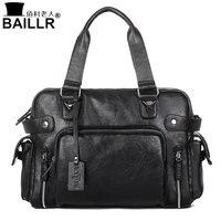 BAILLR Handbag Luxury PU Leather Man Bags Vintage Business Large handle Bag Fashion For Men Shoulder Men's Casual Big Tote Bags