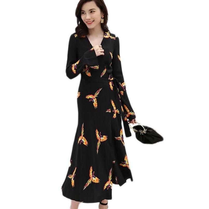 2019 été femmes Phoenix imprimé noir en mousseline de soie longues robes dames col en v à manches longues Maxi Wrap robe