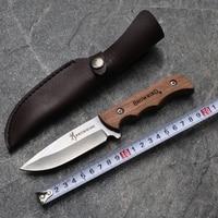 Najnowszy Wielofunkcyjny Ręcznie naprawiono nóż Ze Stali kutej stali Damasceńskiej nóż myśliwski 58 HRC heban uchwyt ze Skórzaną Osłoną