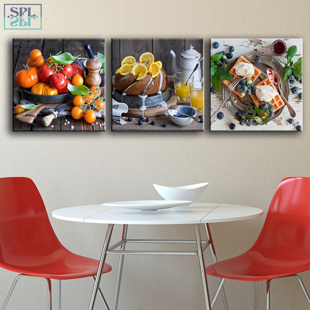 SPLSPL 3 Pieces/Set Kitchen Decorative Painting Modern Fruit Cake Wall Art Canvas Pictures For Dining Room Posters and Prints-in Painting \u0026 Calligraphy from ... & SPLSPL 3 Pieces/Set Kitchen Decorative Painting Modern Fruit Cake ...