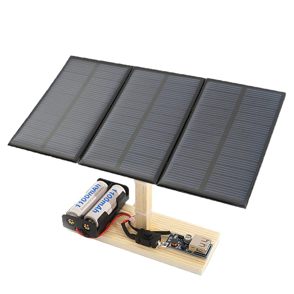 Mini Solar Power Plant Station Model DIY Students Wooden Physical Science Toy