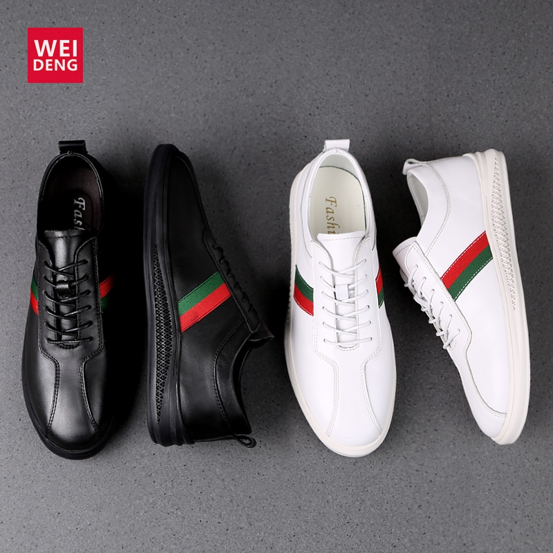 WeiDeng Men Casual Cow Genuine Leather Flats Soft Shoes Lace Up Fashion Male Shoes Comfortable High Quality Plus Size