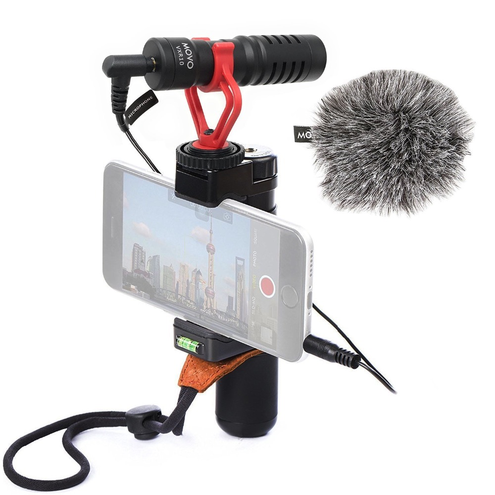 Movo PR-2-PM Smartphone Video Rig With Shotgun Microphone, Grip Handle, Wrist Strap For Ios And Android Smartphone