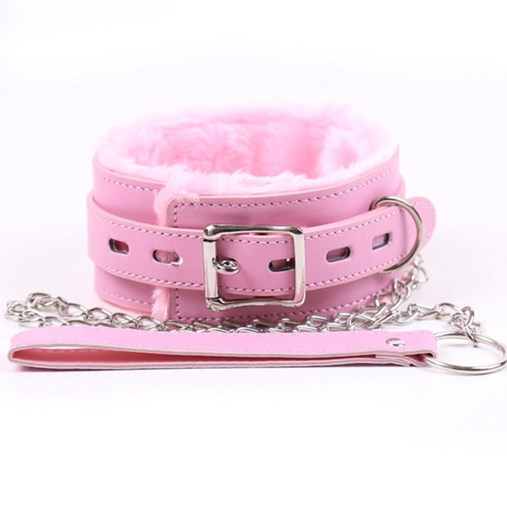 Bdsm Plush Leather Collar Dog Slave Bondage Belt Lockable In Adult Games Fetish Sex Toys For