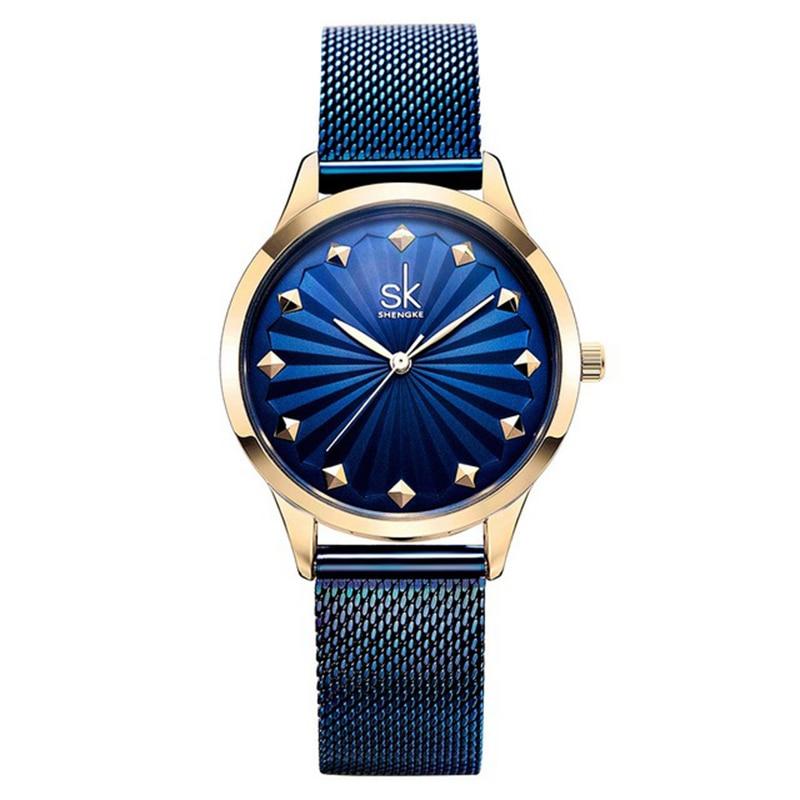 Vestido de Aço Inoxidável à Prova Relógio de Quartzo Shengke Marca Lady Bracelet Ver Moda Minimalista d' Água Mulheres Relógio Feminino s 0081