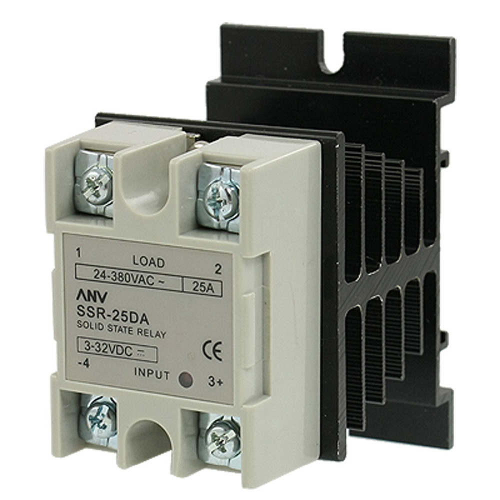 SSR-25 DA 25A 3-32V DC / 24-380V AC Solid State Relay + Heat Sink high quality temprature control solid state relay ssr 40a 3 32v dc 24 380v ac with heat sink
