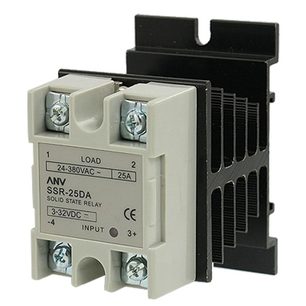 цена на SSR-25 DA 25A 3-32V DC / 24-380V AC Solid State Relay + Heat Sink