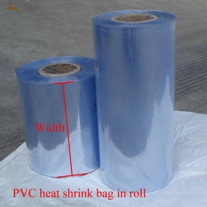 Image 1 - 1 kg/lot 5 6 50 55 cm Width PVC Heat Shrink Wrap Tube Wholesale in Roll Clear Plastic Polybag Gift package shrink sleeve film