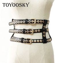 2018 Luxury Brand Designer Punk Wide Girdle Belts for Women ladied Rivet Black Waist Belt Waistband Womens TOYOOSKY