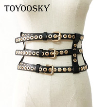 2018 Luxury Brand Designer Punk Wide Girdle Belts for Women ladied Rivet Black Waist Belt Waistband Womens Belt TOYOOSKY(China)