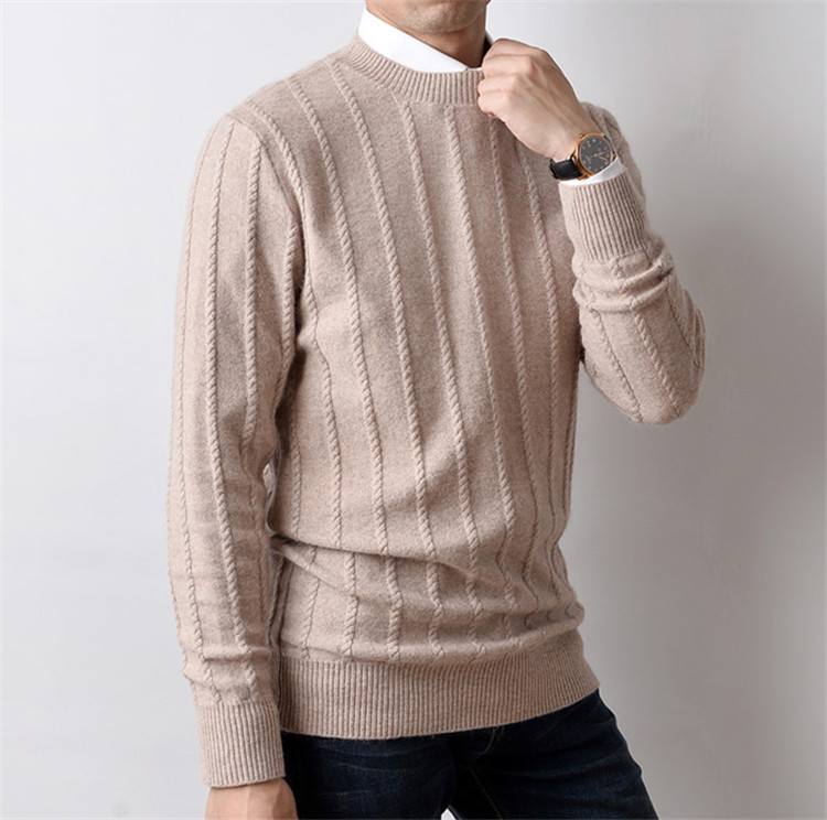 New Fashion 100%cashmere Striped Knit Men Oneck H-straight Pullover Sweater 5color S-2XL Retail Wholesale