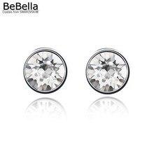 BeBella 7 мм круглые серьги-гвоздики с кристаллами для женщин кристаллы от Swarovski простой дизайн модные ювелирные изделия-гвоздики цветов