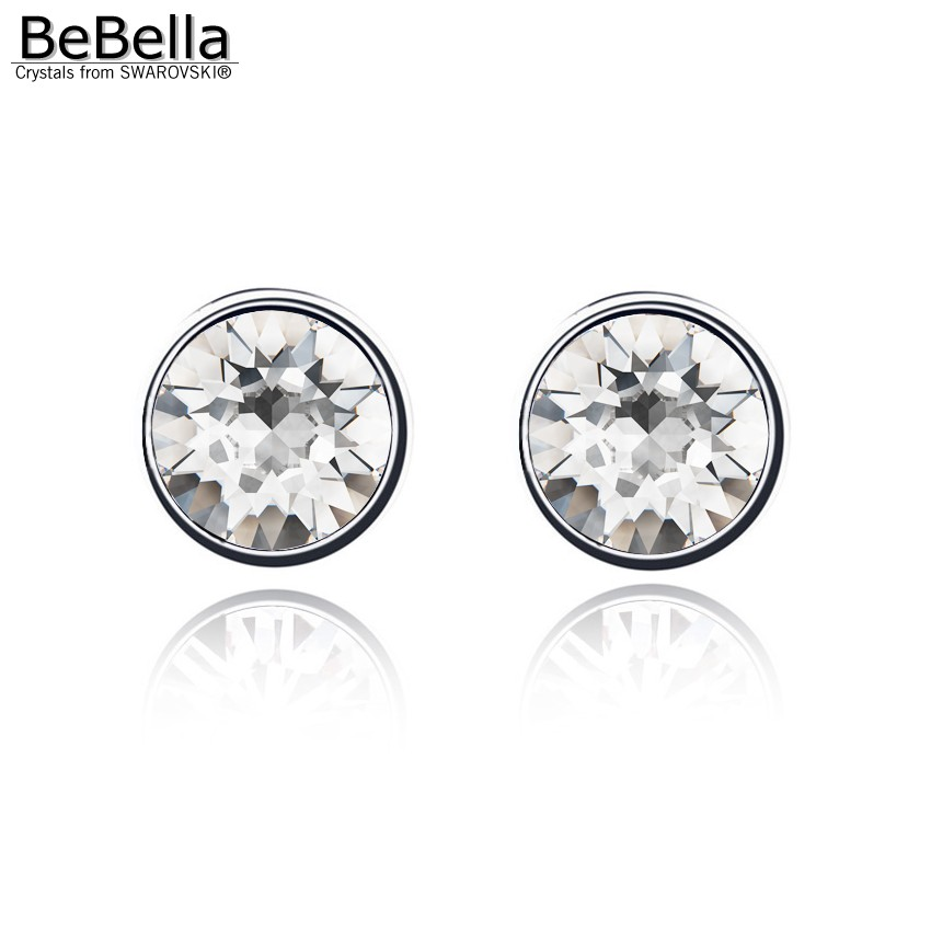 Bebella 7mm Round Crystal Stone Stud Earrings For Women Crystals From Swarovski Simple Design Fashion Jewelry 2018 Colors In