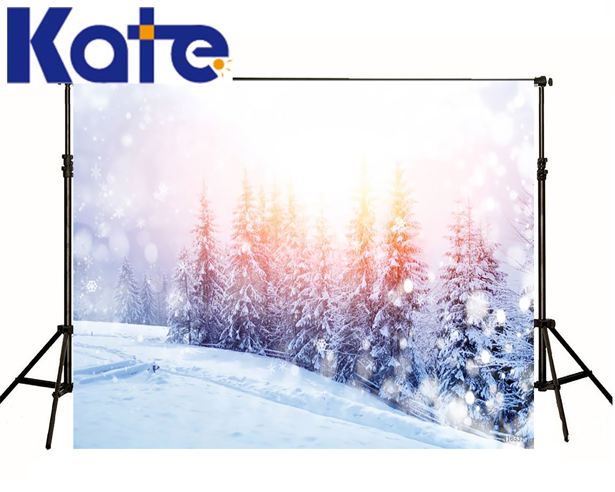 KATE Winter Christmas Backgrounds Dream Spot Backdrop Light Scenery Studio Photo Snow Forest Tree Backdrops For Photo Shoot kate photo background scenery