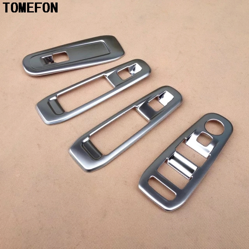 TOMEFON Car Cover styling ABS Chrome Door Armrest Window Lifter Switch Button Regulator Knob Trim 4pcs For PEUGEOT 308 2014 2015 цена