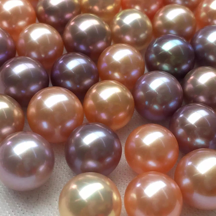 Big beads natural farming freshwater pearl round naked pearl particls DIY handmade material 10-12mm natural farming home