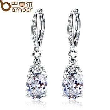 White & Blue Crystal Anti-allergic Environmentally Copper Zircon Earring