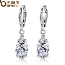 New Authentic White & Blue Crystal Anti-allergic Environmentally Fashion Copper Zircon Jewelry Drop Earring YIE096(China)